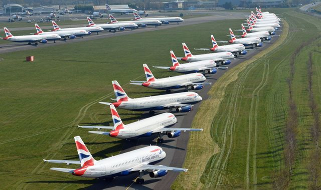 Coronavirus: British Airways will furlough workers on 80% of pay, union says