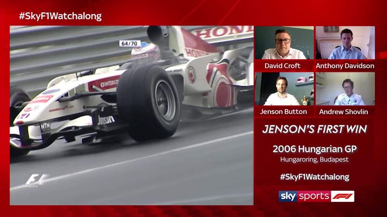 Watch along with Jenson Button as he relives the story of his incredible first win at the dramatic 2006 Hungarian GP, with Andrew Shovlin, Anthony Davidson and David Croft