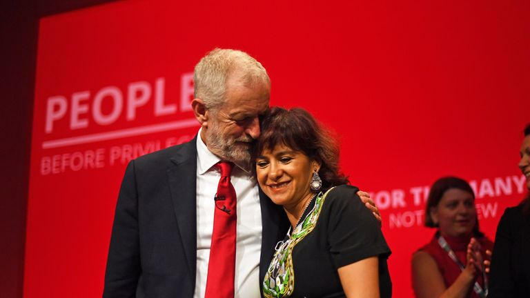 Labour leader Jeremy Corbyn with his wife Laura Alvarez, after speaking at the party's Annual Conference at the Brighton Centre in Brighton, East Sussex.