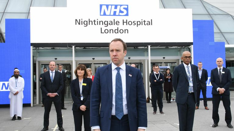 Health Secretary, Matt Hancock at the opening of the NHS Nightingale Hospital at the ExCel centre in London, a temporary hospital with 4000 beds which has been set up for the treatment of Covid-19 patients. PA Photo. Picture date: Friday April 3, 2020. Split into more than 80 wards containing 42 beds each, the facility will be used to treat Covid-19 patients who have been transferred from other intensive care units across London. See PA story HEALTH Coronavirus Charles. Photo credit should read: Stefan Rousseau/PA Wire