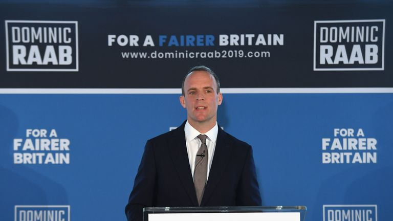 Former Brexit Secretary Dominic Raab launches his campaign in central London to become leader of the Conservative and Unionist Party and Prime Minister.