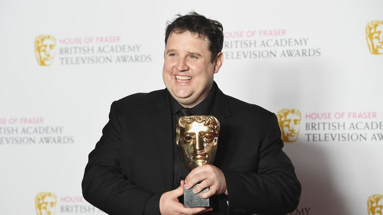 LONDON, ENGLAND - MAY 08:  Peter Kay, winner of the Male Performance in a Comedy Programme for 'Peter Kay's Car Share' poses in the Winners room at the House Of Fraser British Academy Television Awards 2016  at the Royal Festival Hall on May 8, 2016 in London, England.  (Photo by Stuart C. Wilson/Getty Images)