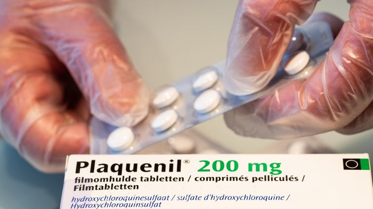 Illustration picture shows Plaquenil tablets in a pharmacy, Monday 06 April 2020. Belgium goes into its fourth week of confinement in the ongoing corona virus crisis. There are lots of debate around the use of Chloroquine medecine te treat Covid-19.BELGA PHOTO BENOIT DOPPAGNE (Photo by BENOIT DOPPAGNE/BELGA MAG/AFP via Getty Images)
