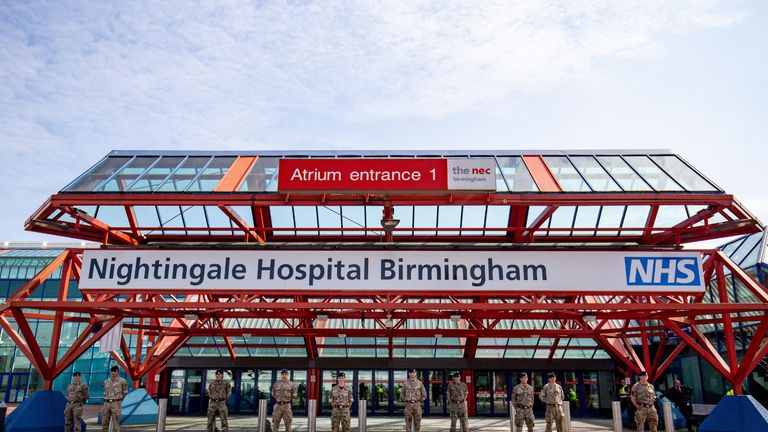 Military personnel at the new temporary NHS Nightingale Birmingham Hospital at the NEC in Birmingham, which is being built to provide care for an increased number of patients requiring treatment during the COVID-19 pandemic.
