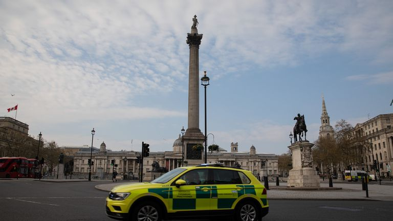 LONDON, ENGLAND - APRIL 08: Paramedic Car passes in front of Trafalgar Square on April 08, 2020 in London, England. There have been around 50,000 reported cases of the COVID-19 coronavirus in the United Kingdom and 5,000 deaths. The country is in its third week of lockdown measures aimed at slowing the spread of the virus. (Photo by Jo Hale/Getty Images)