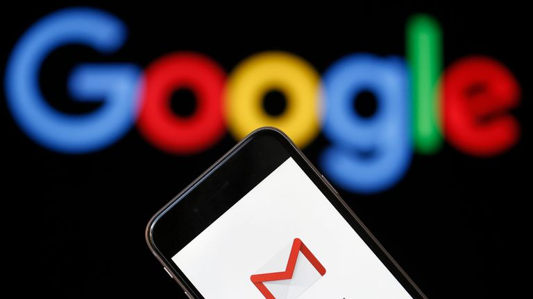 PARIS, FRANCE - JULY 04:  In this photo illustration, the logo of the Gmail app homepage is seen on the screen of an iPhone in front of a computer screen showing a Google logo on July 04, 2018 in Paris, France.  According to the Wall Street Journal dozens of Google partner companies have access to emails from 1.5 billion Gmail users. Gmail is a free email service offered by Google.  (Photo Illustration by Chesnot/Getty Images)