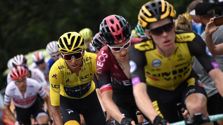 Colombia's Egan Bernal (2ndL), wearing the overall leader's yellow jersey and Great Britain's Geraint Thomas (2ndR) follow Netherlands' Steven Kruijswijk (C) during the twentieth stage of the 106th edition of the Tour de France cycling race between Albertville and Val Thorens, in Val Thorens, on July 27, 2019. - Tour de France's organisers cut the penultimate stage by over half its distance due to reports of more mudslides. (Photo by JEFF PACHOUD / AFP)        (Photo credit should read JEFF PACHOUD/AFP via Getty Images)