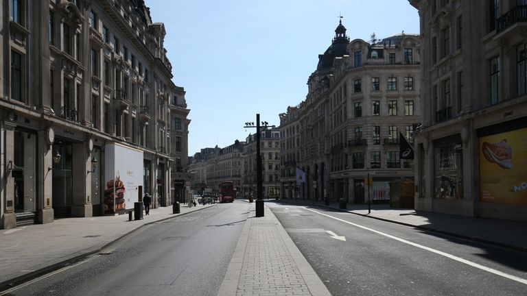 A view along Regent Street, London, looking from Oxford Circus towards Piccadilly, as the UK continues in lockdown to help curb the spread of the coronavirus.