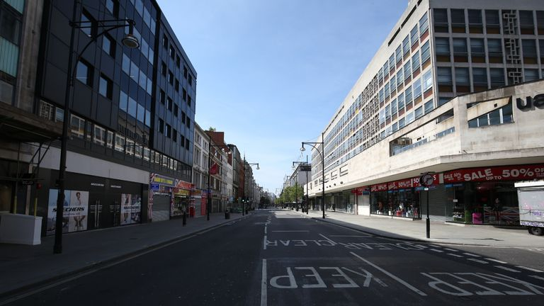 A view of an empty Oxford Street, London, looking towards Marble Arch, as the UK continues in lockdown to help curb the spread of the coronavirus.
