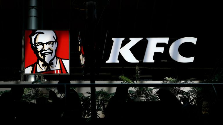 The logo of US fast food restaurant chain KFC is pictured in Madrid, on September 5, 2019. (Photo by GABRIEL BOUYS / AFP)        (Photo credit should read GABRIEL BOUYS/AFP via Getty Images)
