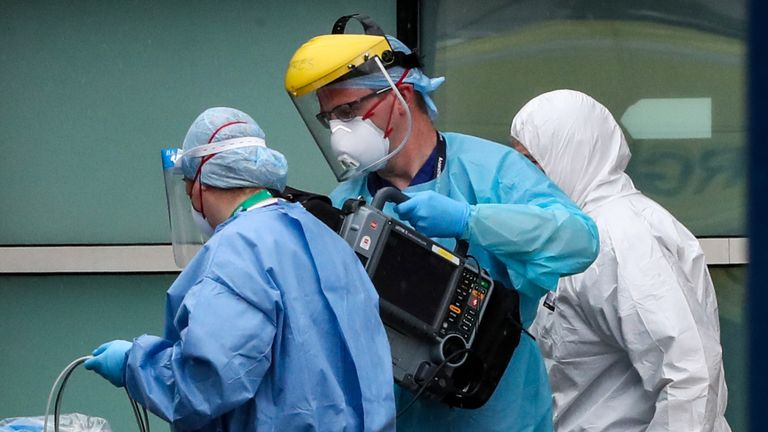 Paramedics and staff at the Royal Liverpool University Hospital wearing various items of PPE as the UK continues in lockdown to help curb the spread of the coronavirus.