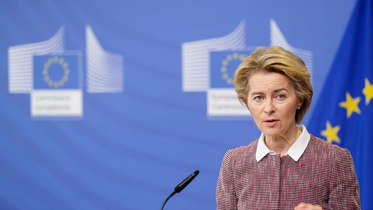 BRUSSELS, BELGIUM - FEBRUARY 19, 2020 : European Commission President Ursula Von der Leyen gives a press conference on a new strategy on Europes Digital Future at the European Commission on February 19, 2020 in Brussels, Belgium. (Photo by Thierry Monasse/Getty Images)