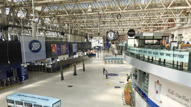 PA asked its photographers to take one picture at NOON to show the impact of coronavirus on the UK and Ireland. The concourse of London's Waterloo station is almost devoid of travellers as shops and business remain closed and the population in lockdown in the continuing fight against the coronavirus.