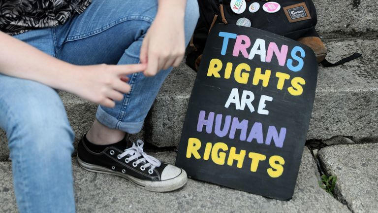 File photo dated 28/07/18 of a person taking part in a Trans Pride March in Dublin. Celebrities, politicians, advocacy groups and social media users around the world have been raising awareness around transgender issues on Sunday for the annual Trans Day of Visibility.