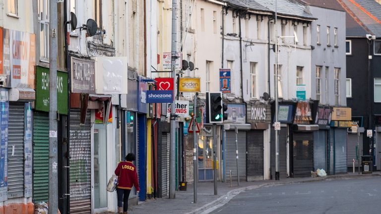 CARDIFF, UNITED KINGDOM - APRIL 21: Closed shops on Cowbridge Road East during the coronavirus lockdown period on April 21, 2020 in Cardiff, United Kingdom.The British government has extended the lockdown restrictions first introduced on March 23 that are meant to slow the spread of COVID-19. (Photo by Matthew Horwood/Getty Images)