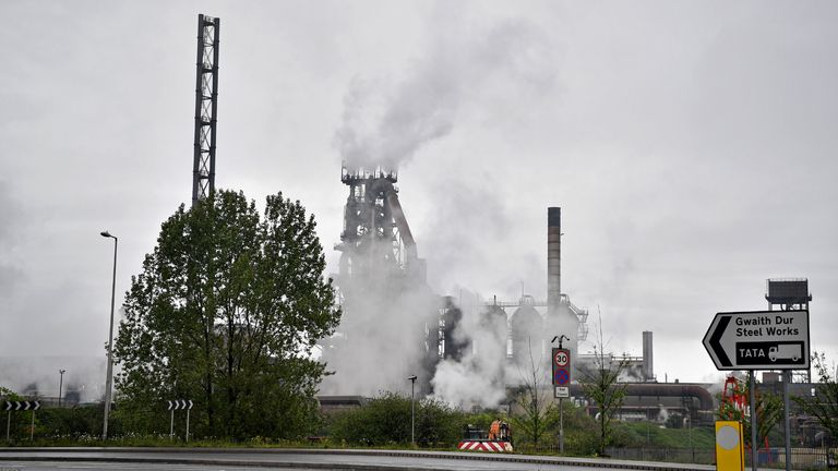 "The Tata Steel steel plant is pictured in Port Talbot, south Wales on April 26, 2019, following an incident at the site early today. - An explosion at the Tata steelworks in south Wales left two people slightly injured, police said Friday. The authorities said numerous calls were received overnight reporting an ""explosion"" at the Port Talbot site. (Photo by Ben STANSALL / AFP) (Photo by BEN STANSALL/AFP via Getty Images)"