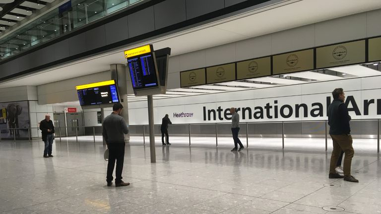 The empty arrivals concourse at Terminal 5 of Heathrow airport, London, as people wait for the arrival of an incoming flight from Sydney via Singapore, as the UK continues in lockdown to help curb the spread of the coronavirus.