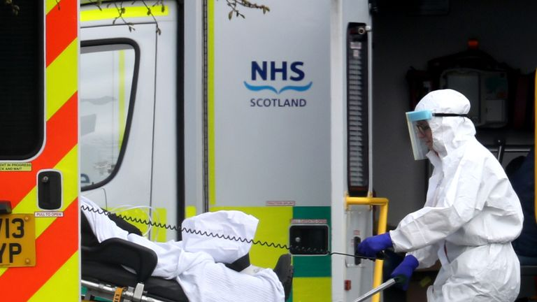 Student paramedics during a training exercise at the Louisa Jordan Hospital in Glasgow as the UK continues in lockdown to help curb the spread of the coronavirus.