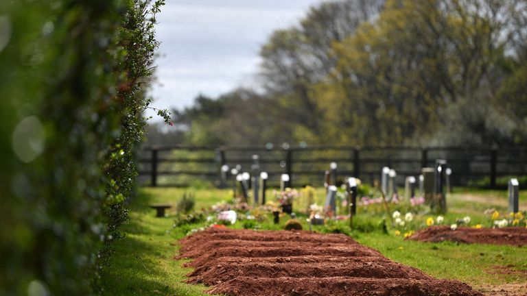 MAKER, ENGLAND - APRIL 14: Pre-dug graves for Covid-19 deaths are seen in Maker Cemetery on April 14, 2020 in Maker, England. The Coronavirus (COVID-19) pandemic has spread to many countries across the world, claiming over 115,000 lives and infecting over 1. 9 million people. (Photo by Dan Mullan/Getty Images)
