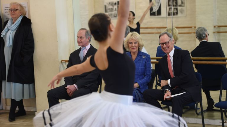 EMBARGOED TO 0001 WEDNESDAY APRIL 29 File photo dated 01/02/18 of the Duchess of Cornwall watching students dance during a visit to the Royal Academy of Dance in Battersea, London. The Duchess of Cornwall has revealed she has taken up ballet and is practising her poses and positions to keep fit during the coronavirus lockdown.