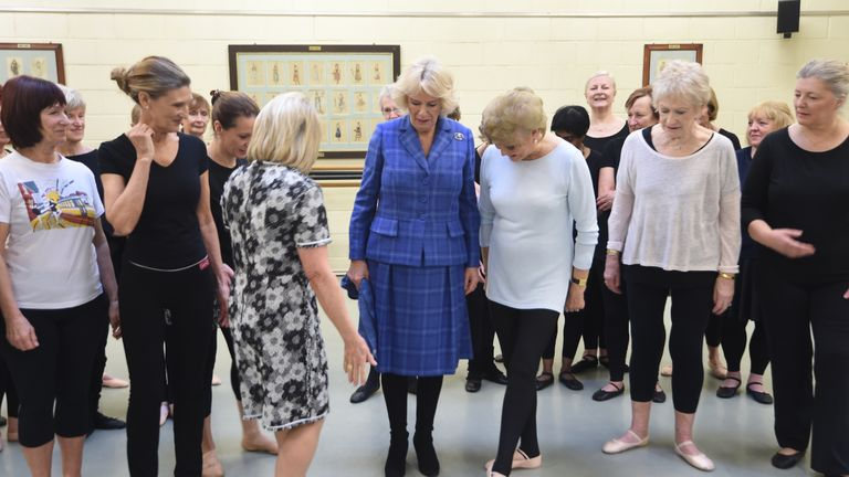 File photo dated 01/02/18 of the Duchess of Cornwall with Elaine Paige (centre left) and Angela Rippon (centre right) and other students during a visit to the Royal Academy of Dance in Battersea, London. The Duchess of Cornwall has revealed she has taken up ballet and is practising her poses and positions to keep fit during the coronavirus lockdown.