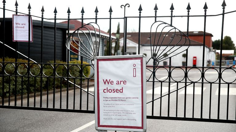 A sign in front of closed gates at Squire's Garden Centre in Farnham, Surrey as the UK continues in lockdown to help curb the spread of the coronavirus.