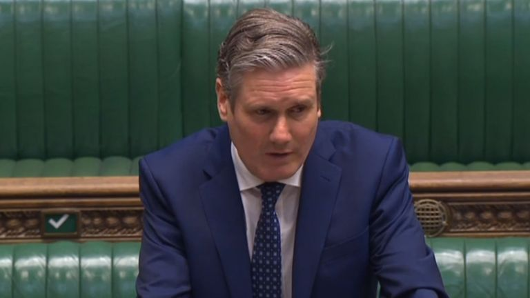 Screen grab of Labour leader Sir Keir Starmer speaking during Prime Minister's Questions in the House of Commons, London.