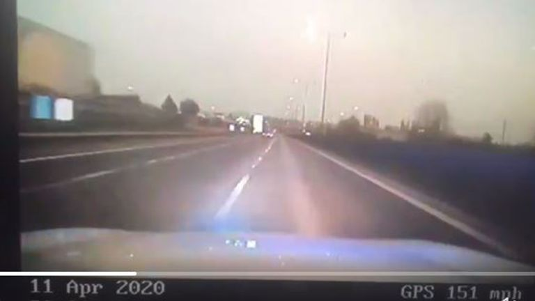 A driver was clocked doing 151mph on the M1. Pic: Andy Cox/Twitter