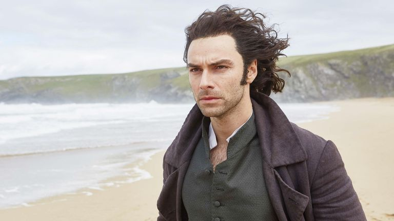 Aidan Turner in the 2018 production of the drama Poldark. Pic: BBC