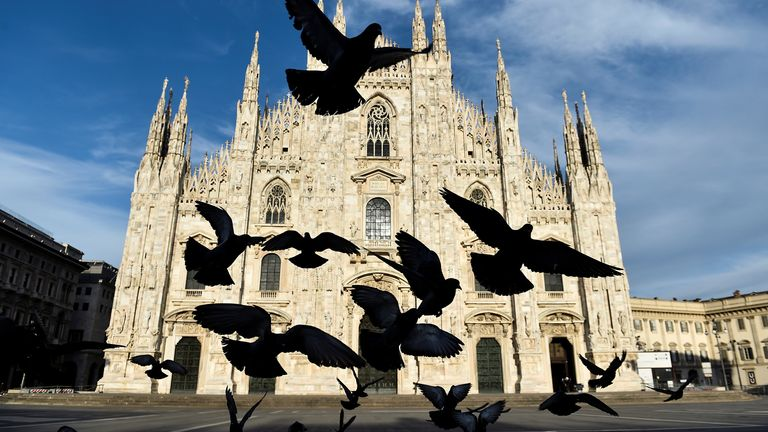 Andrea Bocelli is singing alone in the Duomo Cathedral, Milan