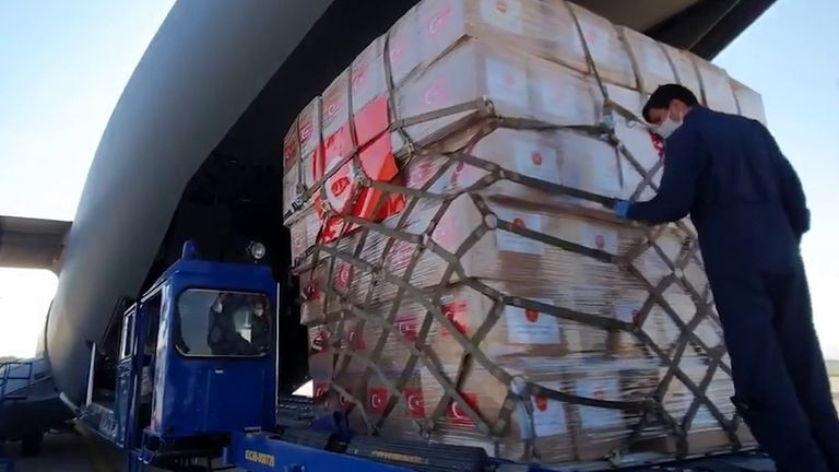 Medical supplies are loaded on to a plane bound for the US in Turkey