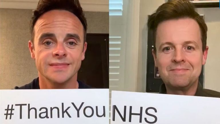 Ant and Dec said thank you while respecting their traditional on-screen positions