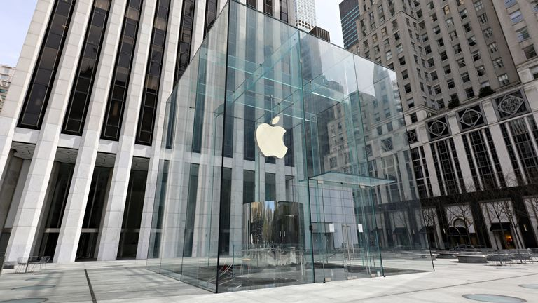 Apple's Fifth Avenue store in New York is shown as the lockdown hits sales and services