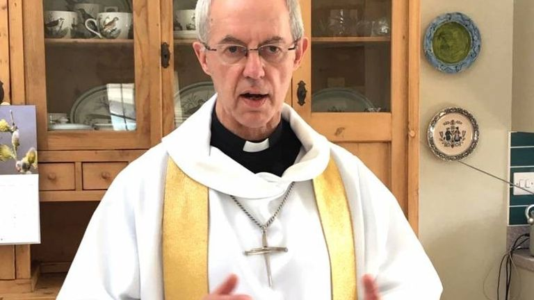 The Archbishop of Canterbury Justin Welby recorded his Easter Sunday sermon in the kitchen at Lambeth Palace