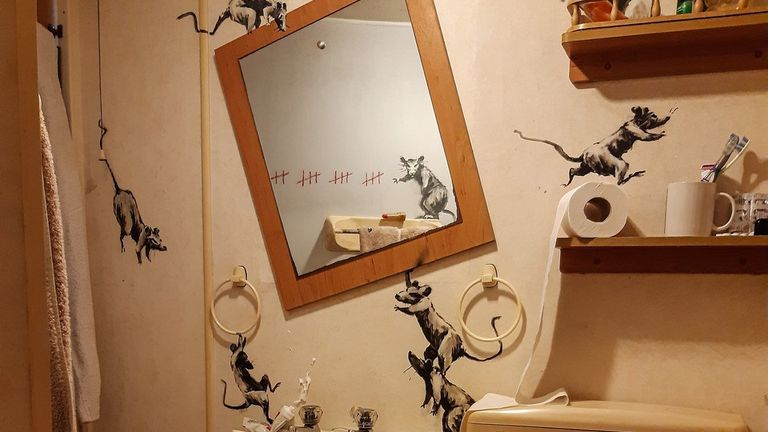 Banksy has unveiled a new piece inside his own home
