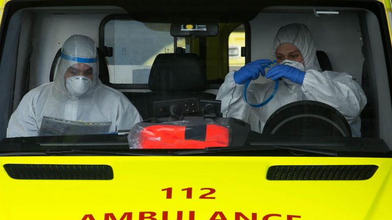 Emergency services get ready while in an ambulance in Brussels