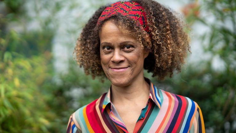 Bernardine Evaristo, 2019 Booker Prize, shortlisted author, at the Cheltenham Literature Festival 2019 on October 12, 2019 in Cheltenham, England