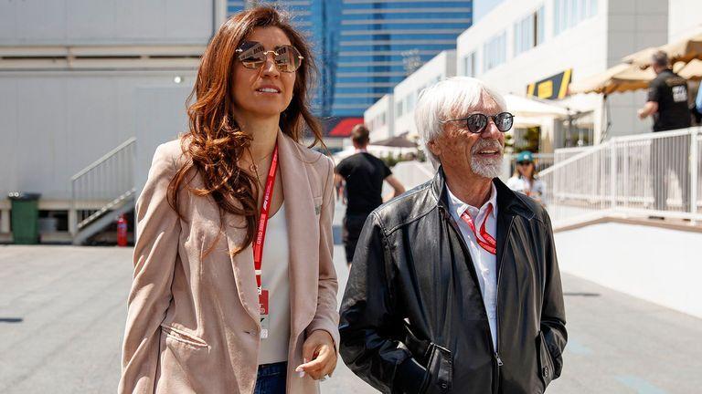 Former Formula One chairman Bernie Ecclestone with his wife Fabiana Flosi. Pic: Xhemaj/EPA-EFE/Shutterstock