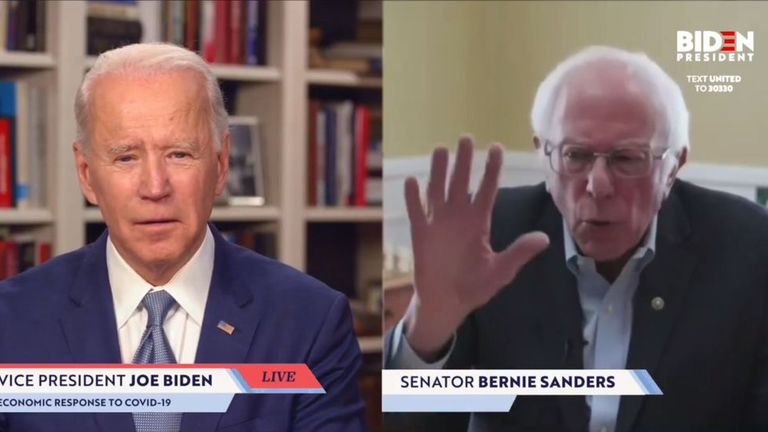 Bernie Sanders endorses Joe Biden in a screengrab taken from JoeBiden.com campaign website,