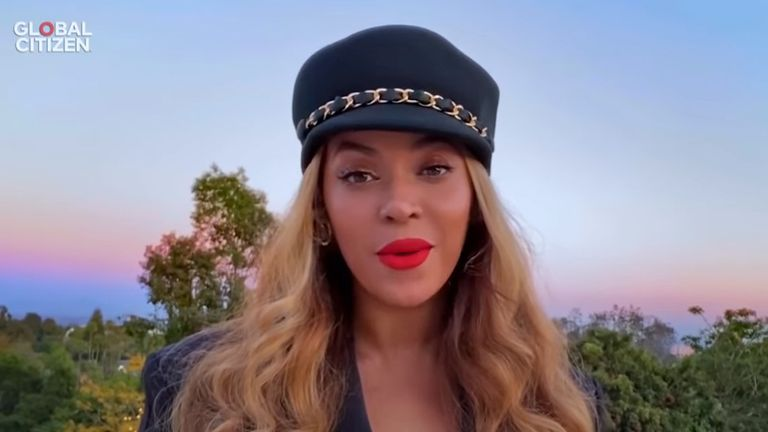 Beyonce takes part in One World: Together At Home. Pic: Global Citizen