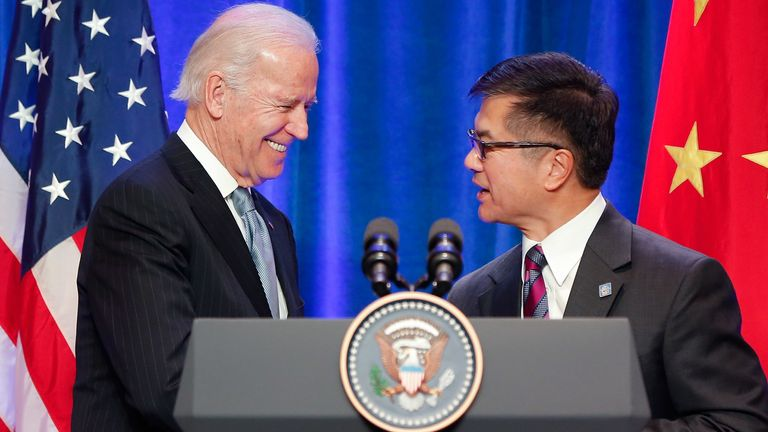 Then-US vice president Joe Biden met US ambassador to China Gary Locke in Beijing in 2013