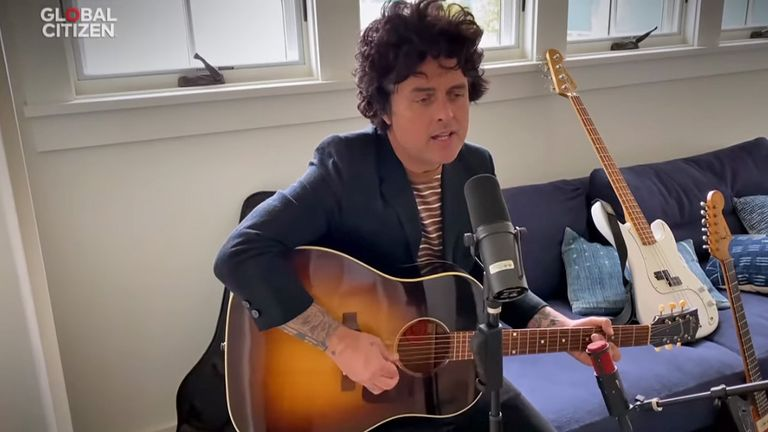 Green Day's Billie Joe Armstrong takes part in the One World: Together At Home event. Pic: Global Citizen