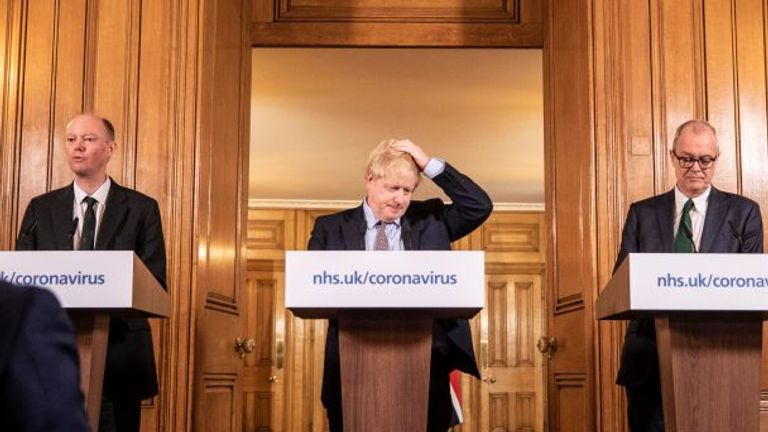 Prime Minister Boris Johnson gives a press conference on the ongoing situation with the coronavirus pandemic with chief medical officer Chris Whitty and Chief scientific officer Sir Patrick Vallance.