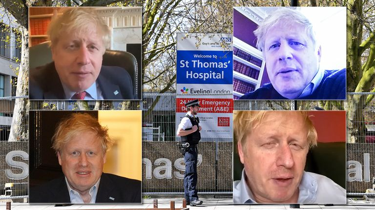 Police officers outside St Thomas' hospital where Boris Johnson has been admitted with persistent Coronavirus symptoms. Pics: Xinhua/James Veysey/Shutterstock/PA