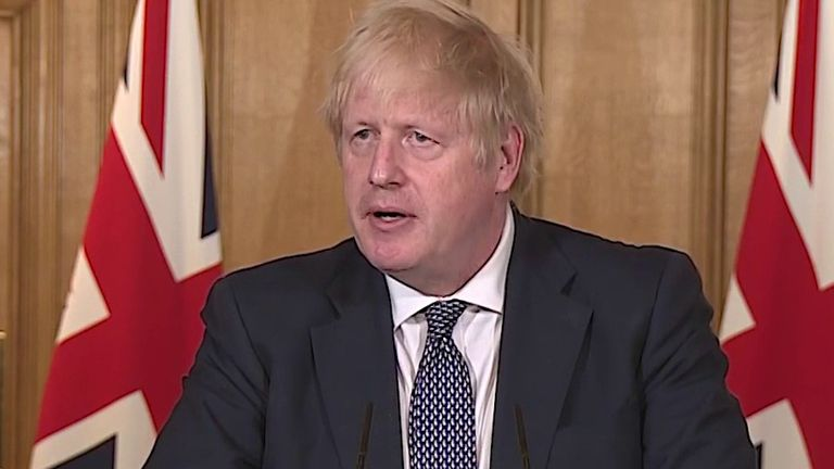 Boris Johnson says the UK is past the peak of coronavirus