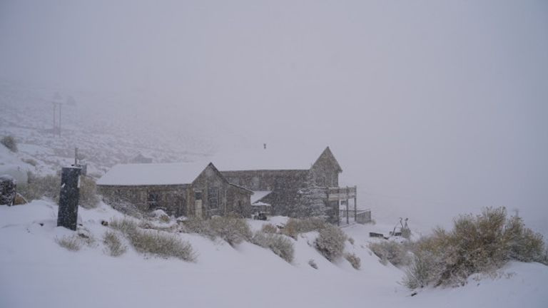 The snowswept remote buildings where Brent Underwood is trapped. Pic: Brent Underwood