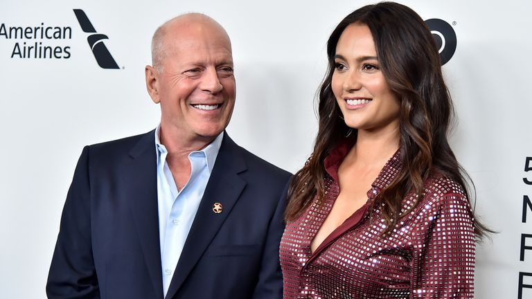 Bruce Willis with his model wife Emma