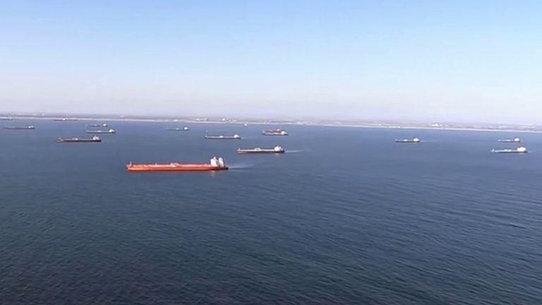 Dozens of oil tankers anchored off coast of California