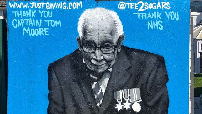 Graffiti of Captain Tom Moore in Merthyr Tydfil, South Wales, by graffiti artist, Tee2Sugars
