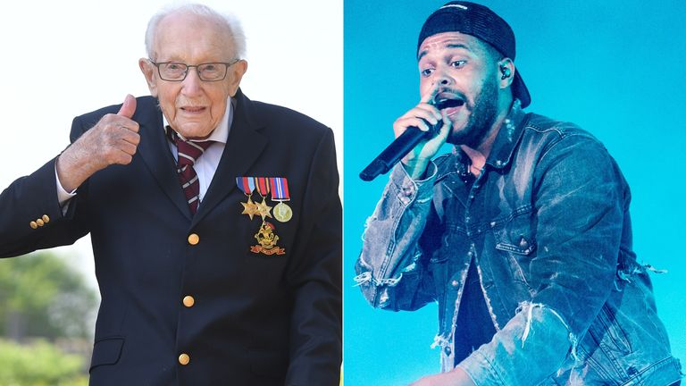 Captain Tom Moore and The Weeknd. Pics: Joe Giddens/PA/Rmv/Shutterstock